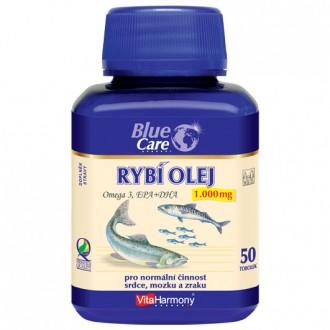 KOMPLETNÍ SORTIMENT - BLUE CARE Rybí olej 1000 mg - Omega 3 EPA + DHA - 50 tob.