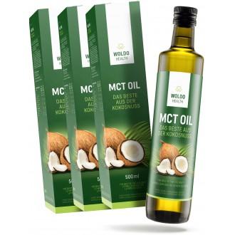KOMPLETNÍ SORTIMENT - 2+1 Woldohealth MCT olej 3x500 ML ( 100% KOKOSOVÉHO OLEJE)