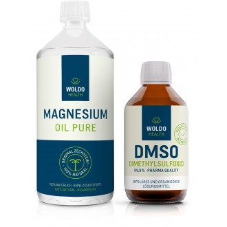 KOMPLETNÍ SORTIMENT - WoldoHealth DMSO 250 ml + WoldoHealth Hořčíkový olej 1000 ml