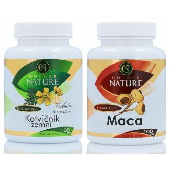 VÝHODNÉ SETY - Golden Nature Kotvičník zemní 90% 100 cps. + Golden Nature Maca 100 cps.