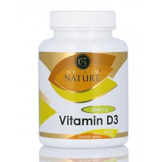 KOMPLETNÍ SORTIMENT - Golden Nature Vitamin D3 2000 I.U. 100 cps.