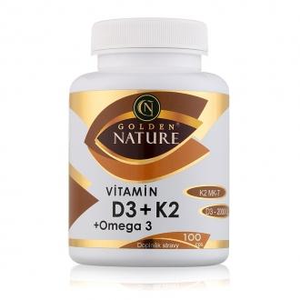 KOMPLETNÍ SORTIMENT - Golden Nature Vitamin D3 2000 I.U.+K2 MK-7+Omega 3 100 cps.