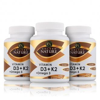 AKČNÍ BALÍČKY 2+1 - 2+1 Golden Nature Vitamin D3+K2 MK-7+Omega 3 300 cps.